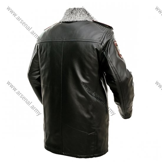 Куртка зимняя полиции из натуральной кожи