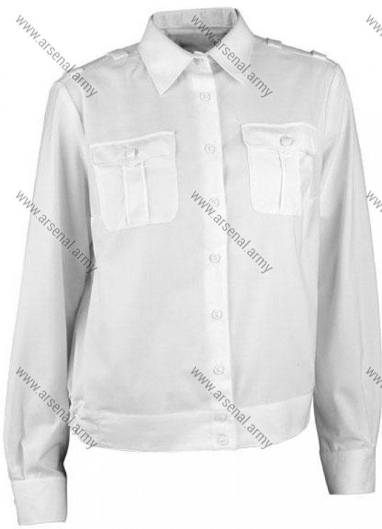 Рубашка женская белая длинный рукав укороченная