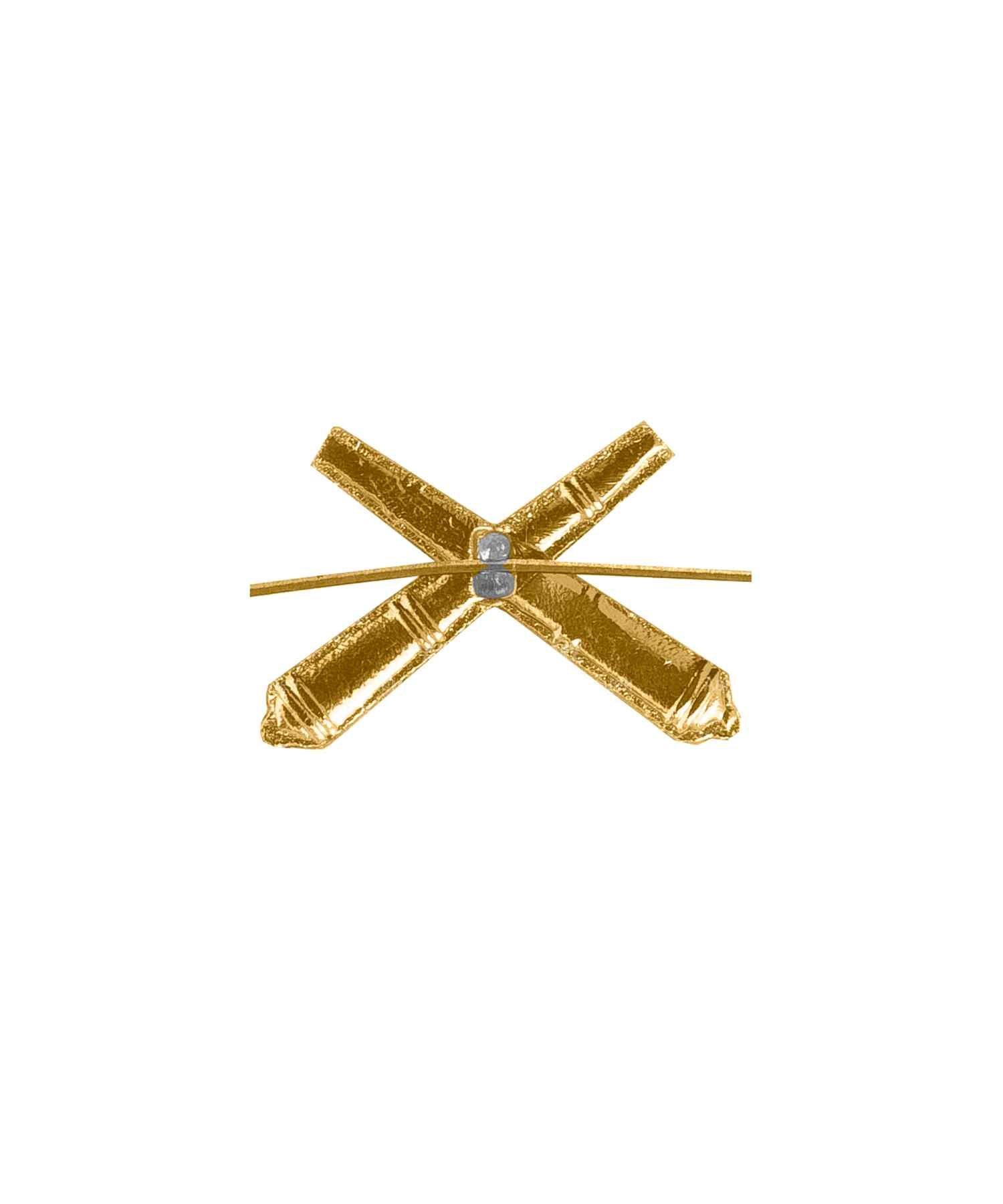 Эмблема артиллерии металлическая желтая