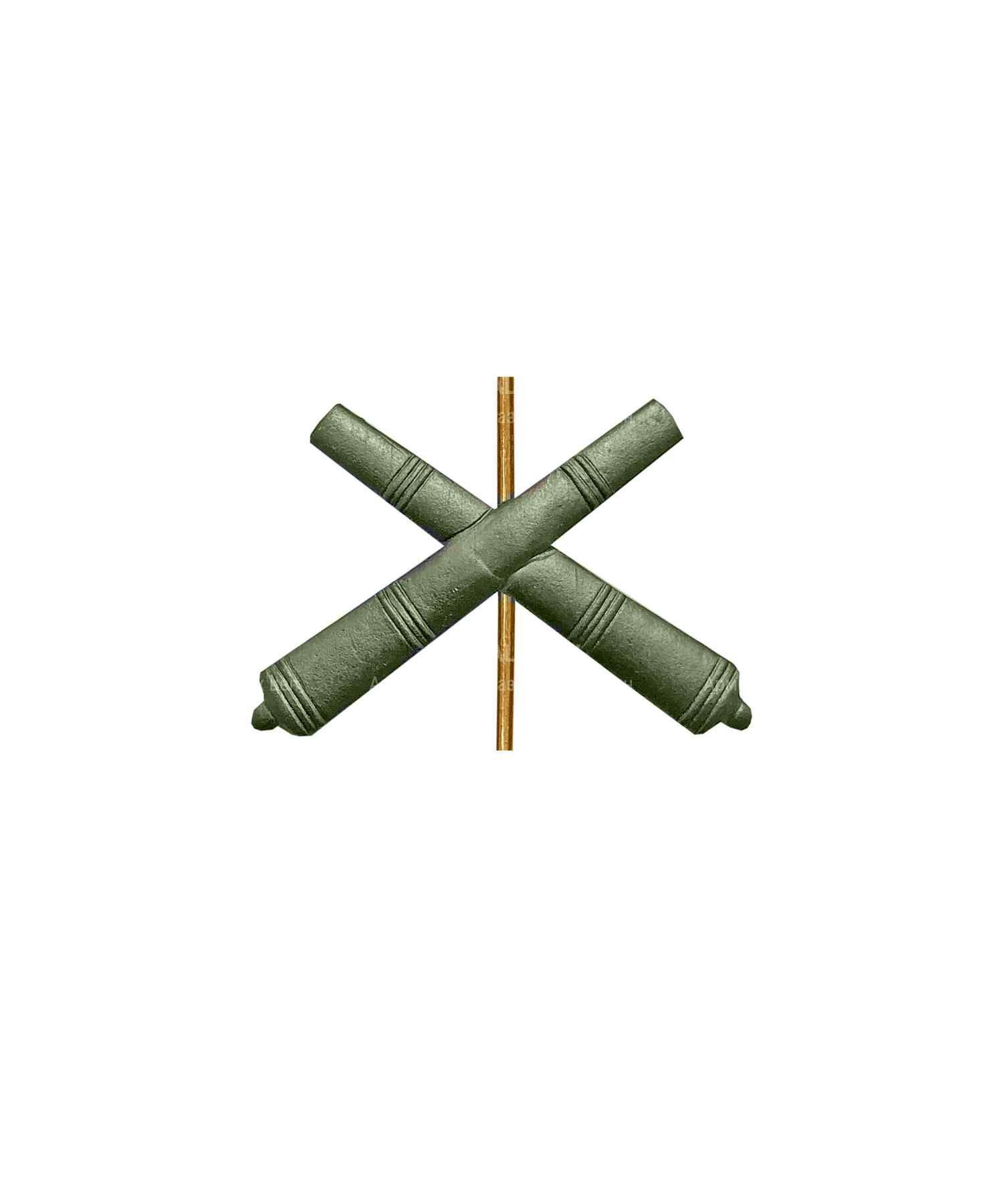 Эмблема артиллерии металлическая зеленая