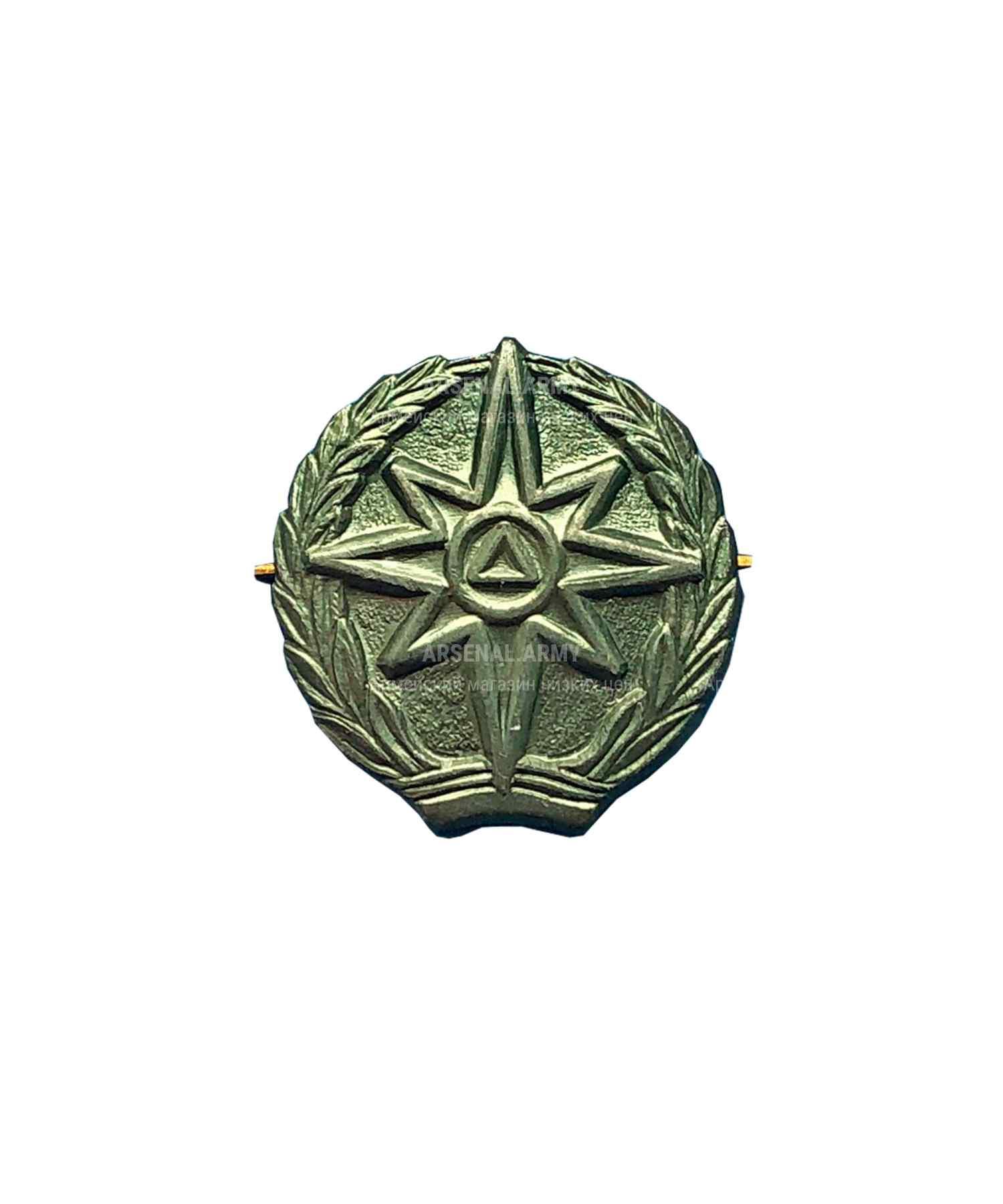 Эмблема МЧС металлическая зеленая