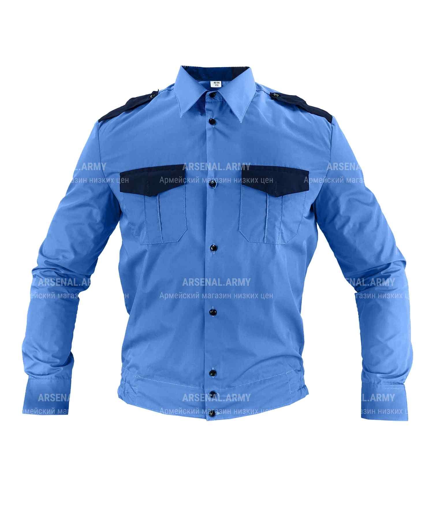 Рубашка охрана синяя длинный рукав