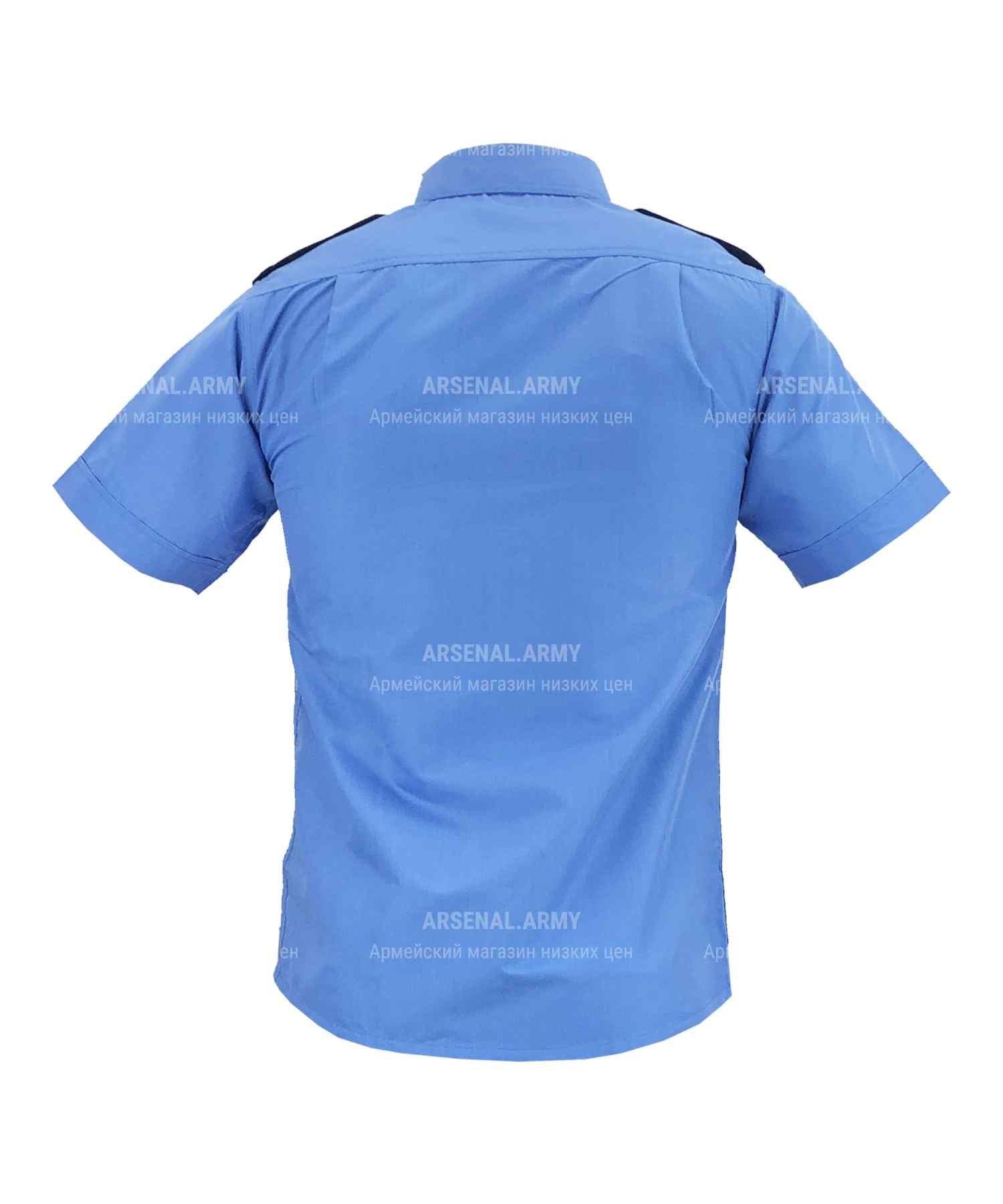 Рубашка охрана синяя короткий рукав