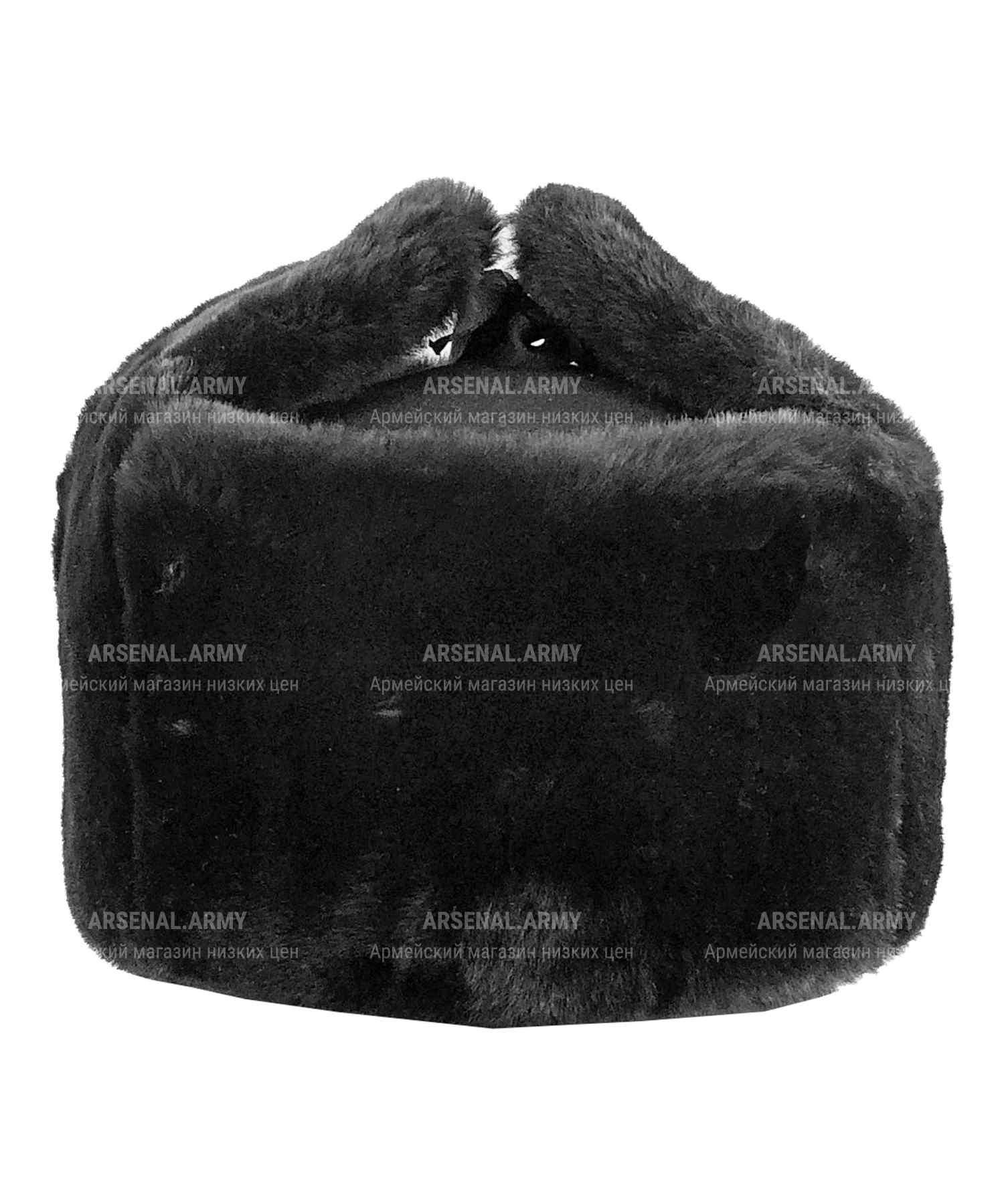 Шапка зимняя черная цигейковая