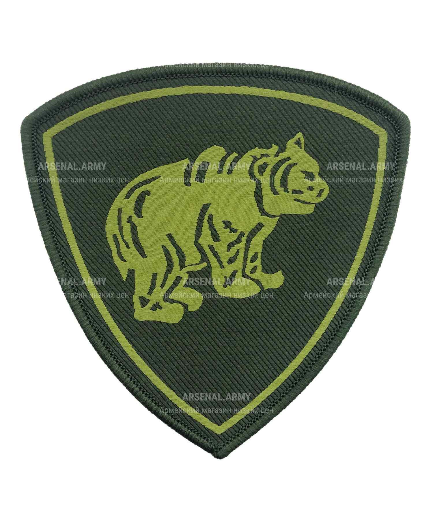 Шеврон вышитый медведь зеленый