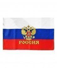 Флаг России с гербом на древке 20*30