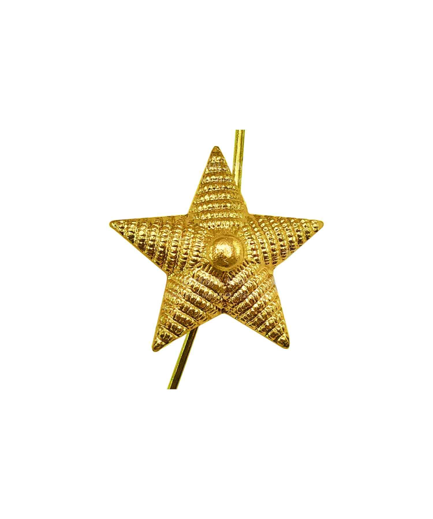 Звезда на погоны рифленая желтая 18мм