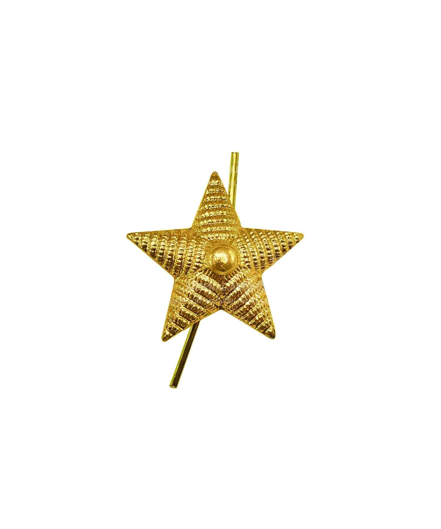 Звезда на погоны рифленая желтая 13мм