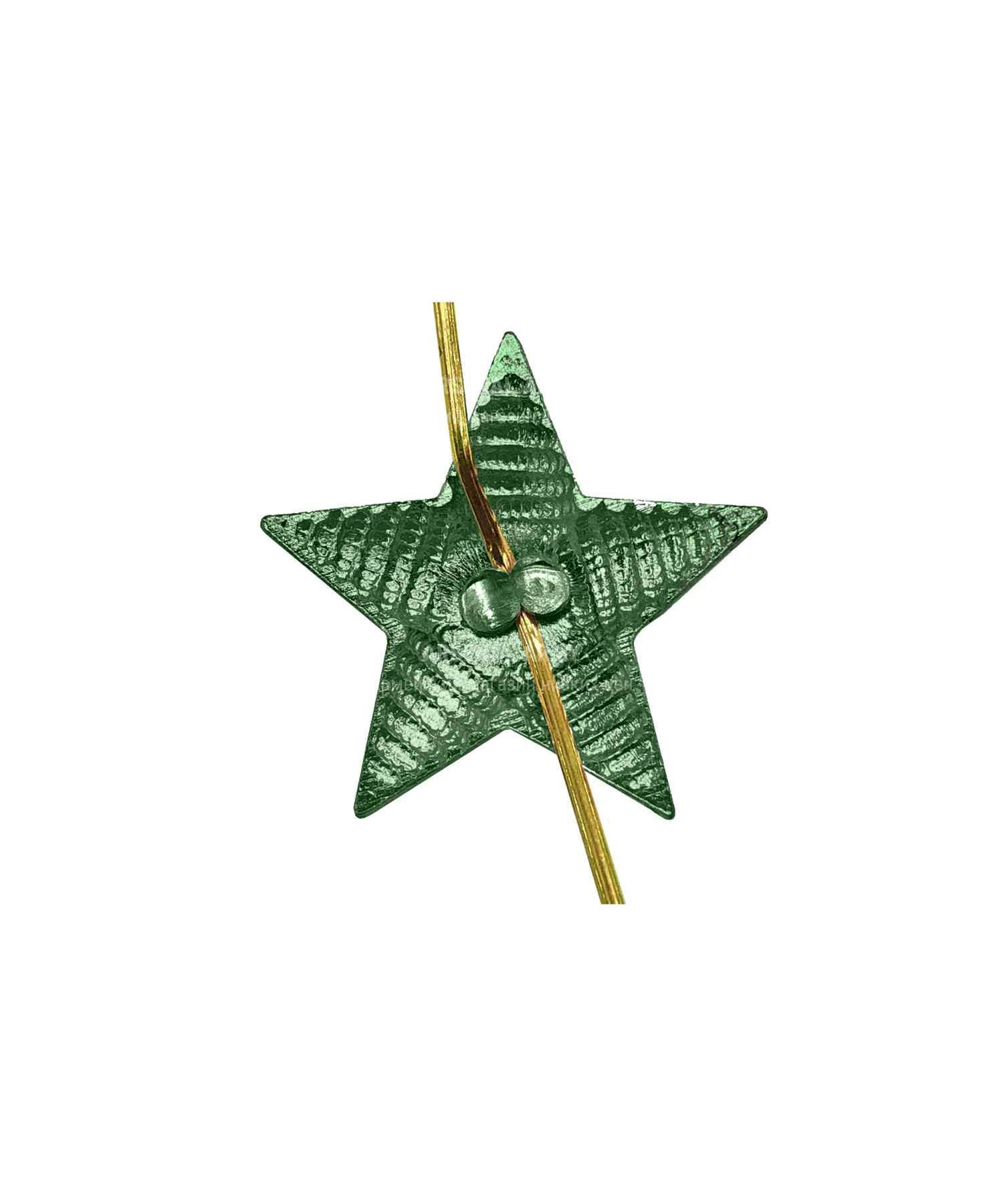 Звезда на погоны рифленая зеленая 18 мм