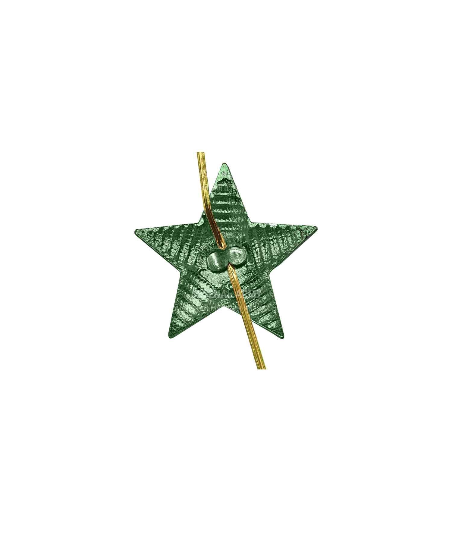 Звезда на погоны рифленая зеленая 13 мм