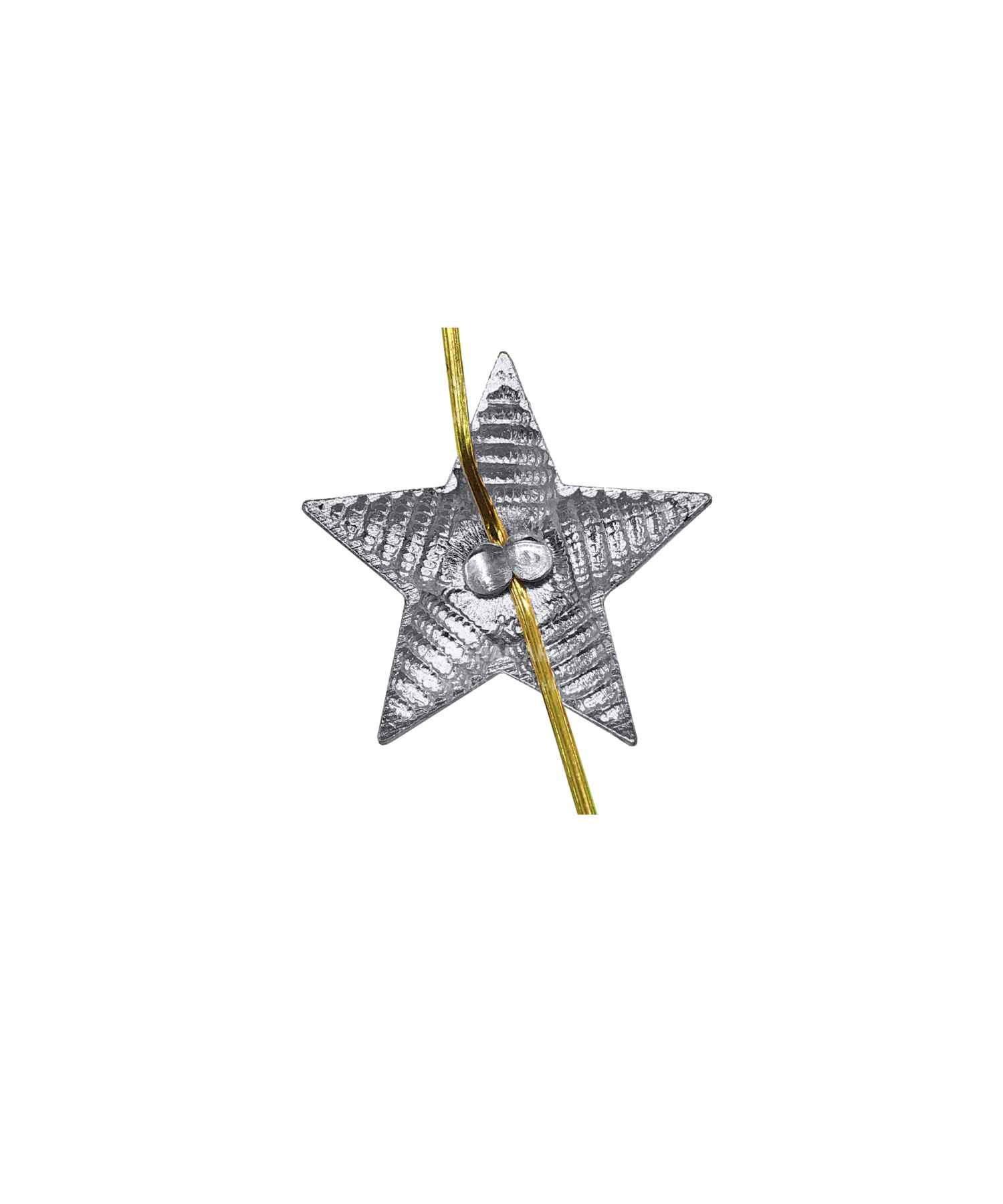 Звезда на погоны рифленая серебряная 13 мм